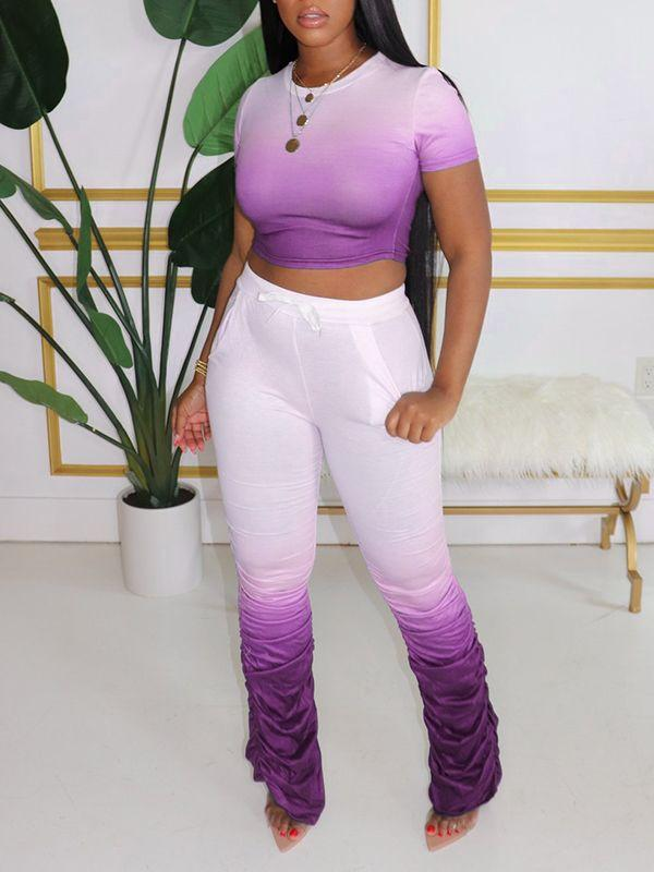 Gradient Crop Top & Ruched Pants Set