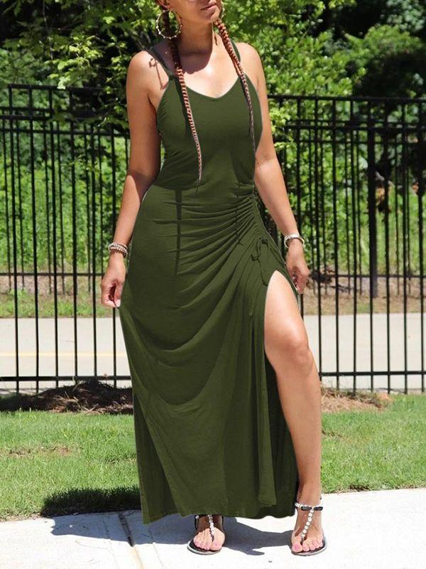 Drawstring Slit Cami Dress