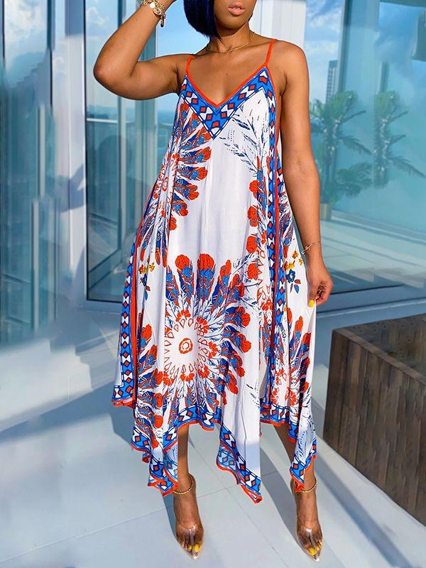 Printed Handkerchief-Hem Cami Dress