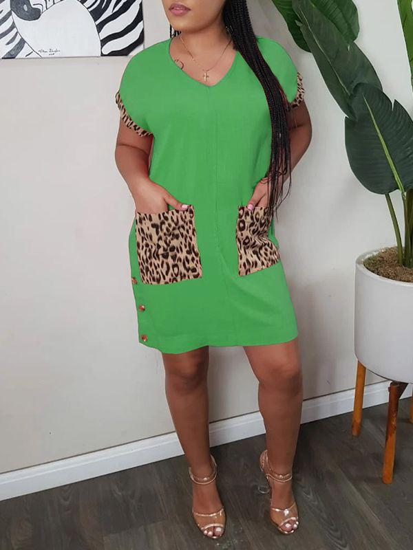 Leopard-Combo Button-Side Dress