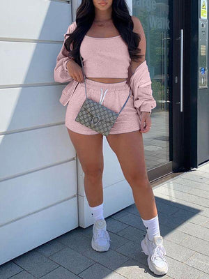 Solid Three-Piece Shorts Set