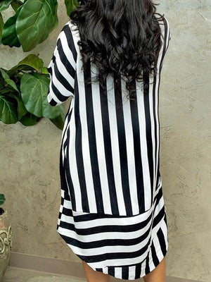 Stripe Combo Shirt Dress