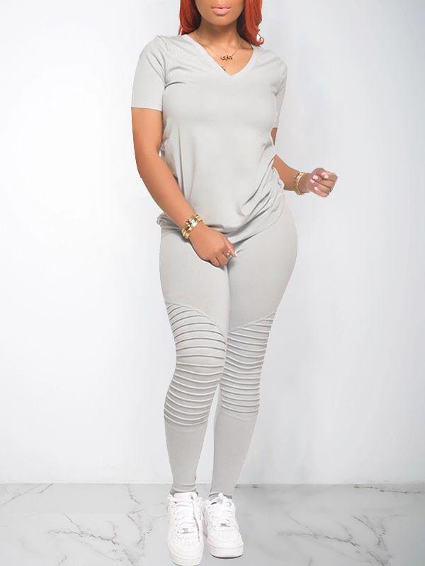 Solid V-Neck Tee & Pants Set