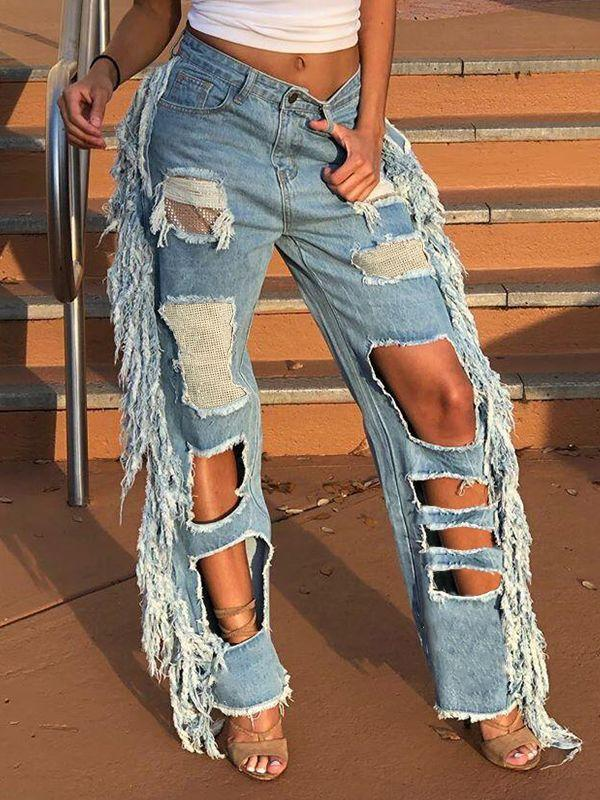 Fringe Combo Ripped Jeans