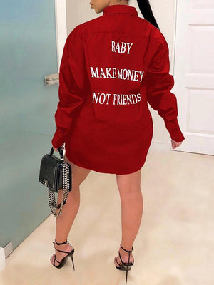 Slogan Back Shirt Dress