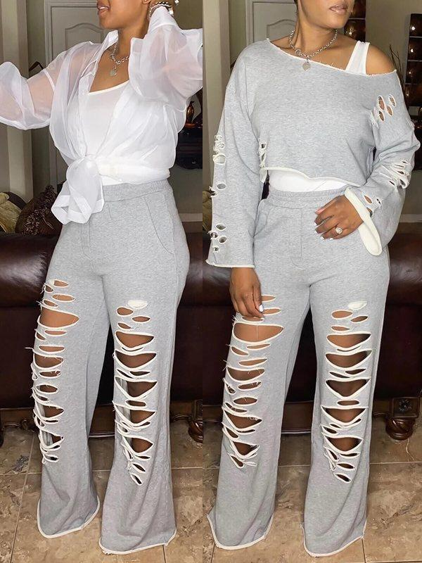 Ripped Cropped Top & Flared Pants Set