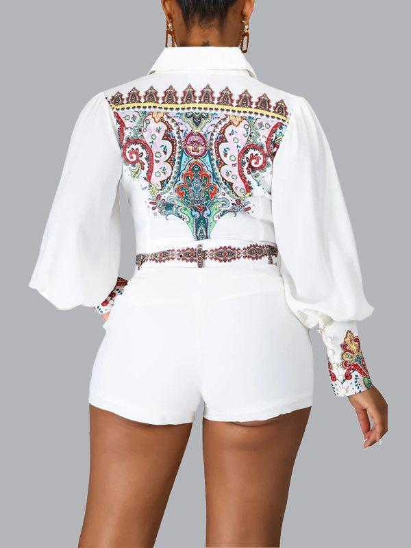 Printed Puff-Sleeve Shirt & Shorts Set