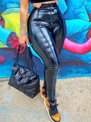 Zip-Front Faux-Leather Pants