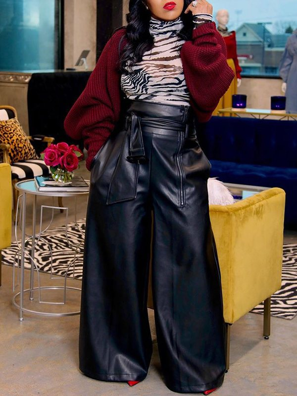 Faux-Leather Wide-Leg Belted Pants