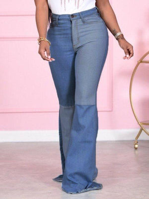 Two-Tone Flared Jeans