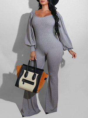 Ribbed Puff-Sleeve Jumpsuit