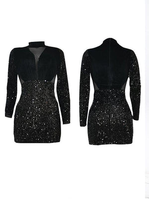 Velvet Combo Sequin Dress