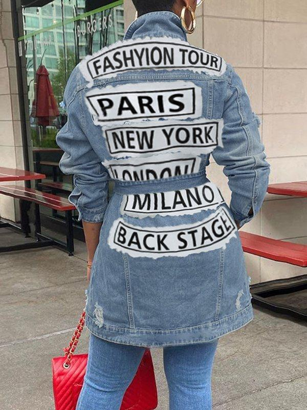 Distressed Belted Denim Jacket