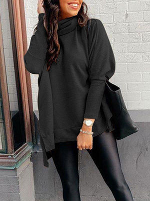 Cowl-Neck Slit Sweater