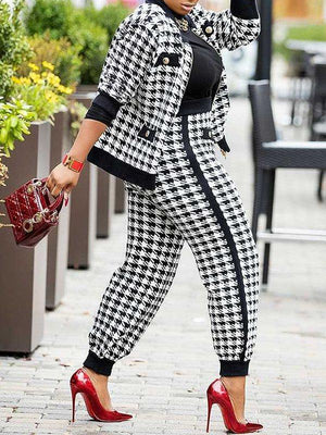 Houndstooth Jacket & Pants Set