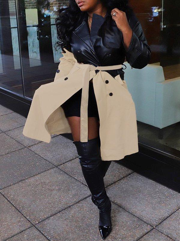 Faux Leather Combo Trench