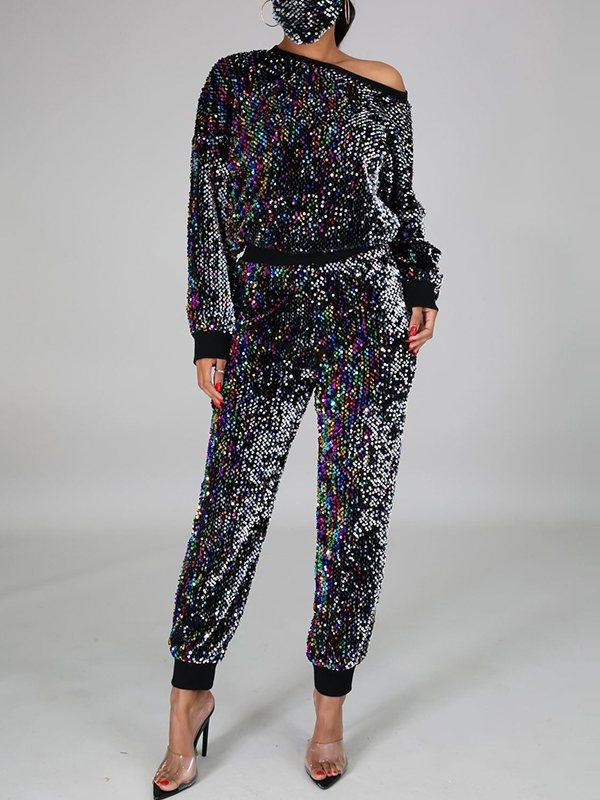 Sequin Sweatshirt & Jogger Pants Set