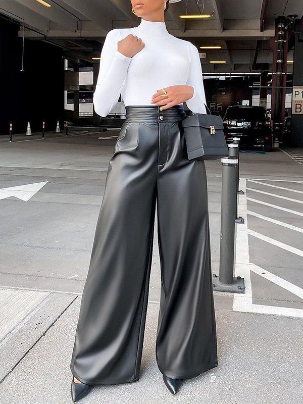 Faux-Leather Wide-Leg Pants