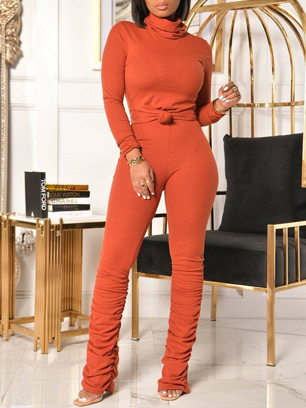 Turtleneck Top & Ruched Pants Set