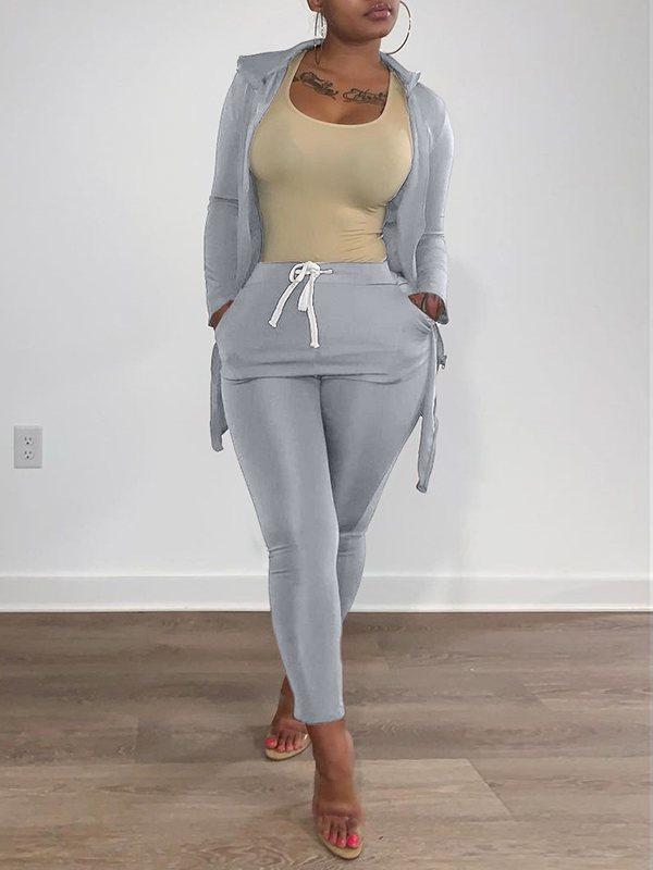 Zip-Front Turtleneck Top & Pants Set