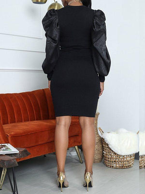Puff-Sleeve Bodycon Dress