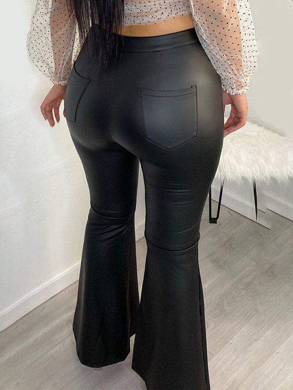 Faux-Leather Flared Pants