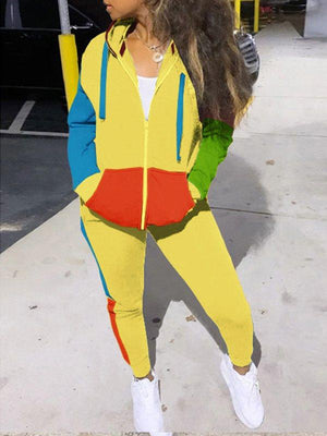 Colorblock Zip-Front Hoodie & Jogger Pants Set