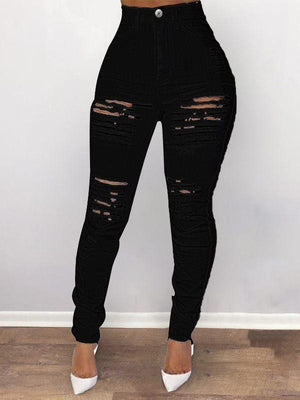 Ripped High-Waist Skinny Jeans