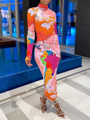 Map-Printed Maxi Dress