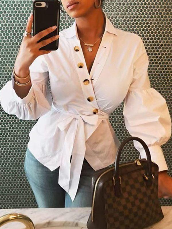 Puff-Sleeve Belted Shirt