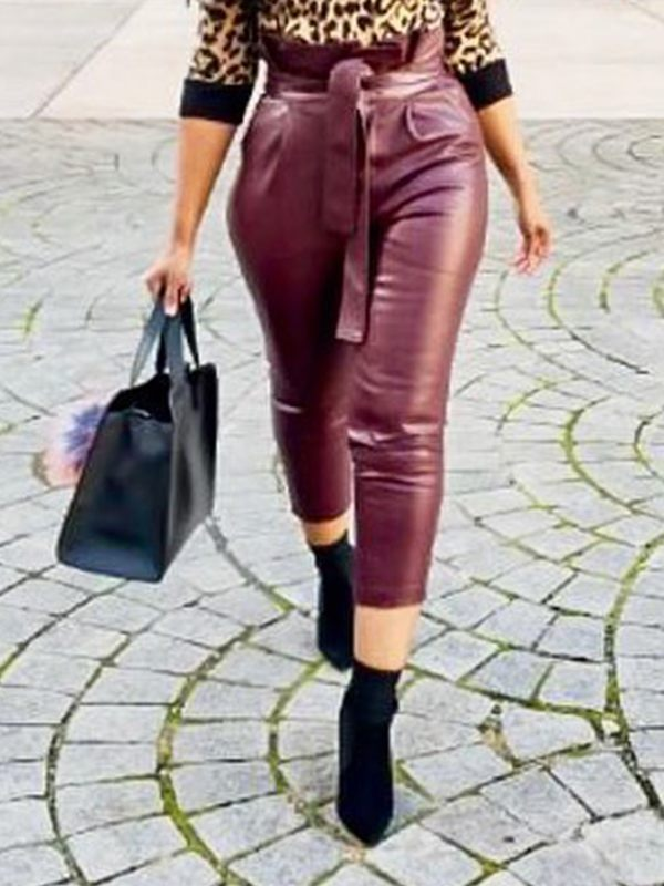 Belted Faux-Leather Pants