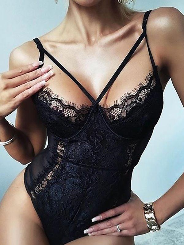 Lace Combo Sheer Bodysuit