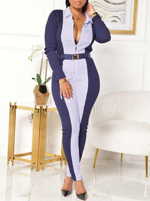 Two-Tone Zip-Front Jumpsuit