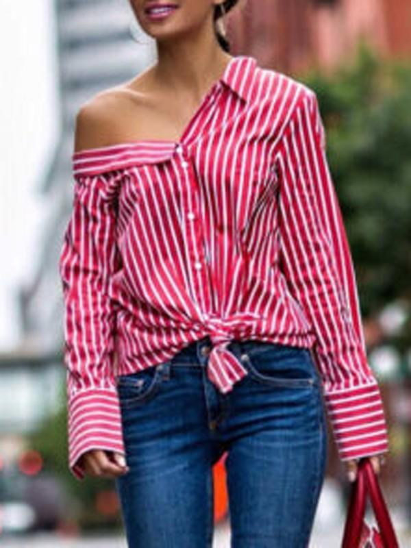 Red Striped Long Sleeve Shirt--S