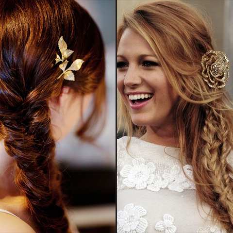 fishtail braid and a simple metallic hair pin - race day hair | Price Attack