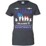 Allergic To Stupidity Sarcasm Military Veteran T-Shirt Great Gift For Veterans