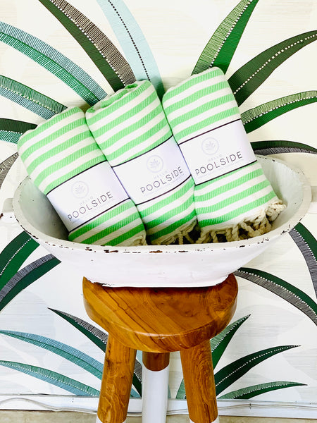 Apple Green & White Turkish Towel