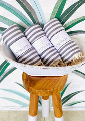 Gray & White Turkish Towel