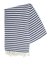 Navy and White Turkish Towel