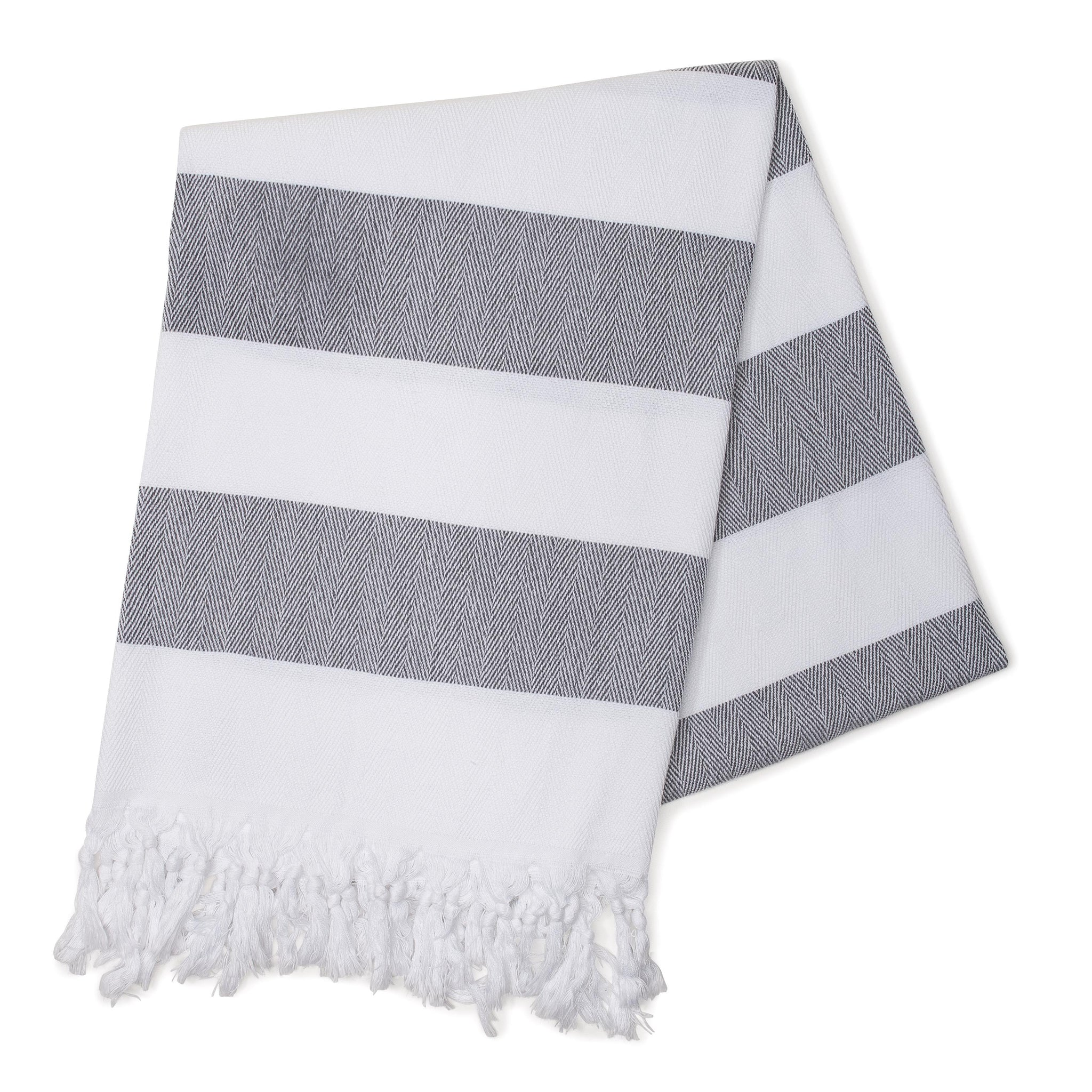 Charcoal Cabana Stripes Turkish Towel