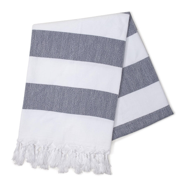 Navy Cabana Stripes Turkish Towel
