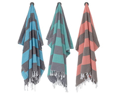 Charcoal & Sea Green Turkish Towel