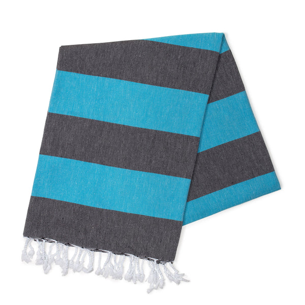 Black & Ocean Blue Turkish Towel