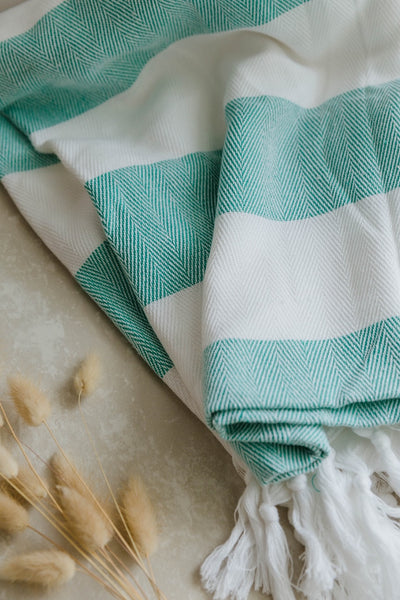 Sea Green Cabana Stripes Turkish Towel