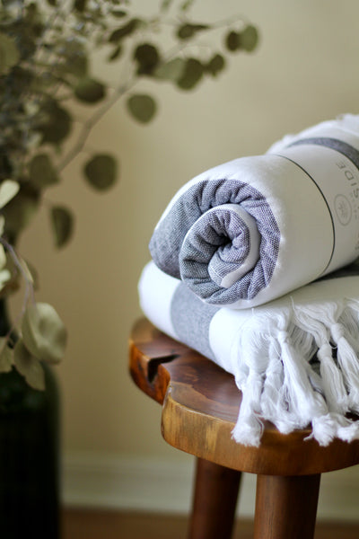 Terry Backed Dark Gray Stripes Turkish Towel
