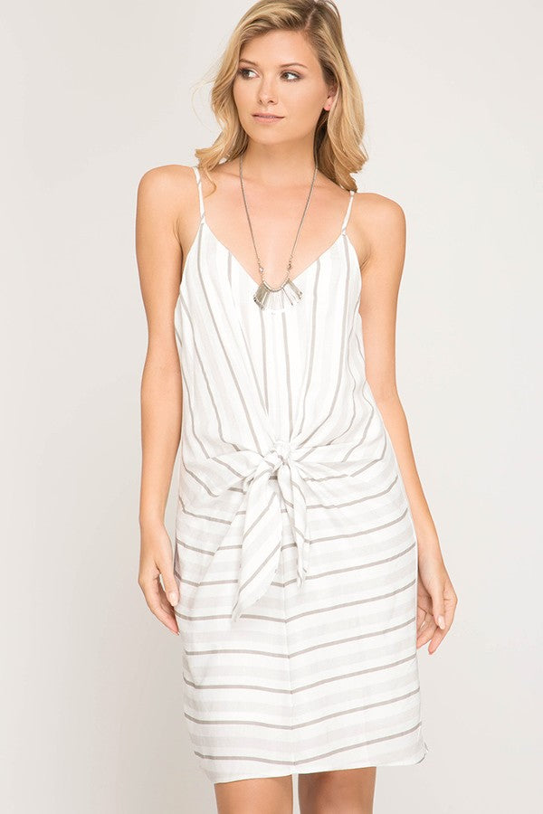 Sweetly Striped Front Tie Dress (Grey)