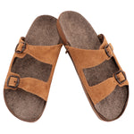 Dual Buckle Tan Leather Sandals ZipZap