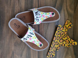 Floral painting on a Footwear on a DIY Murtle strap by Nidhi