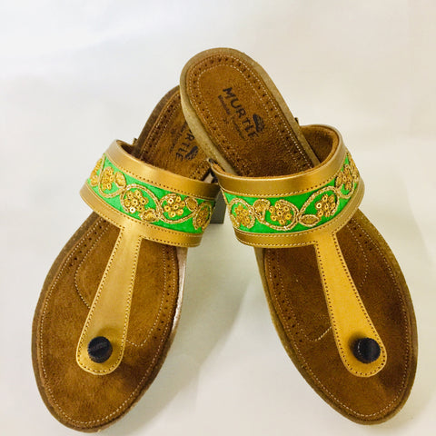 Parrot Green Lace Ethnic Wedges