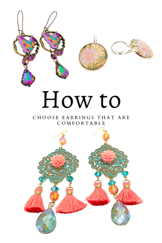 In this blog article, Starry talks about how to choose earrings that will be comfortable for you. The image shows several pairs of earrings of different size and ear wire type